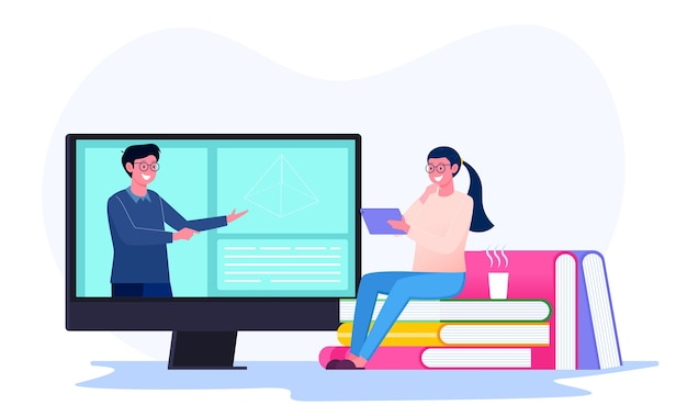 Online learning by students with the teacher on the screen illustration concept