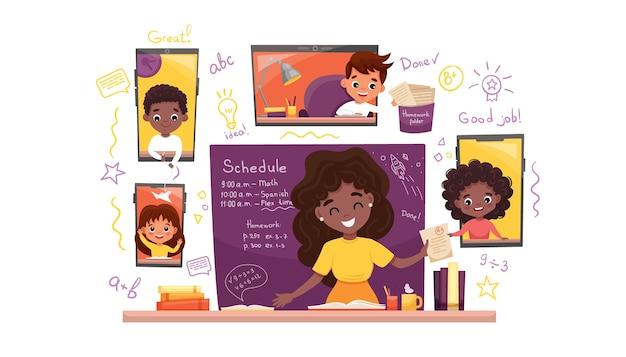 オンライン学習。子供たちはラップトップで働き、スマートフォンで宿題をし、コロナウイルス検疫の概念を持っています。
