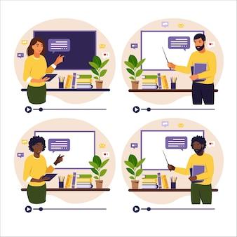 Концепция онлайн-обучения. разные учителя у классной доски, видео-урок. дистанционное обучение в школе. иллюстрация. плоский стиль.