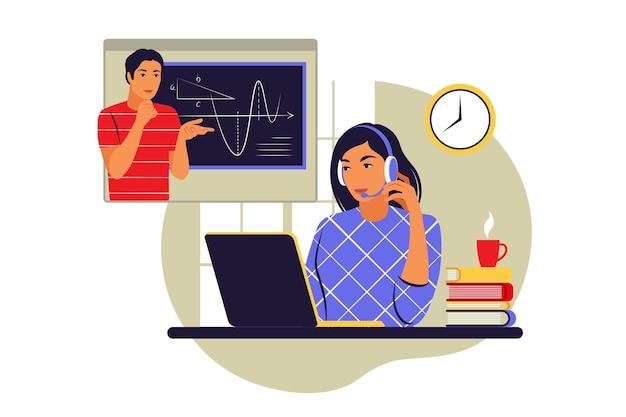 Концепция онлайн-обучения. дистанционное обучение. векторная иллюстрация. плоский стиль.