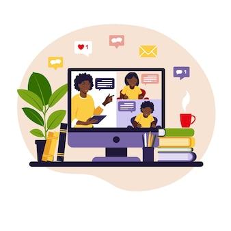 Концепция онлайн-обучения. онлайн-класс. учитель у классной доски, видео-урок.