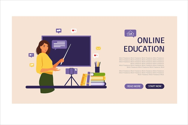 オンライン学習の概念。オンライン教育のランディングページ。黒板の先生、ビデオレッスン。学校での遠隔教育。ベクトルイラスト。フラットスタイル。