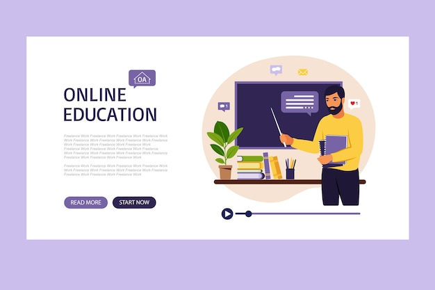 Online learning concept. online education landing page. teacher at chalkboard, video lesson. distance study at school.