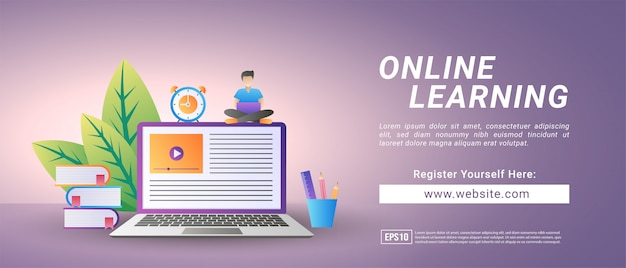 Online learning concept. register for courses and study online. digital education.