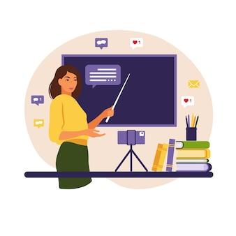 Концепция онлайн-обучения учитель на классной доске видео урок школа дистанционного обучения, иллюстрация плоский стиль