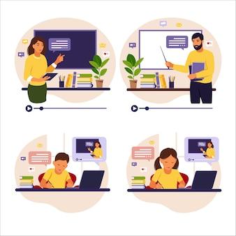 オンライン学習の概念。黒板の先生。彼の机の後ろに座っている子供たちは彼のコンピューターを使ってオンラインで勉強しています。フラットスタイル。