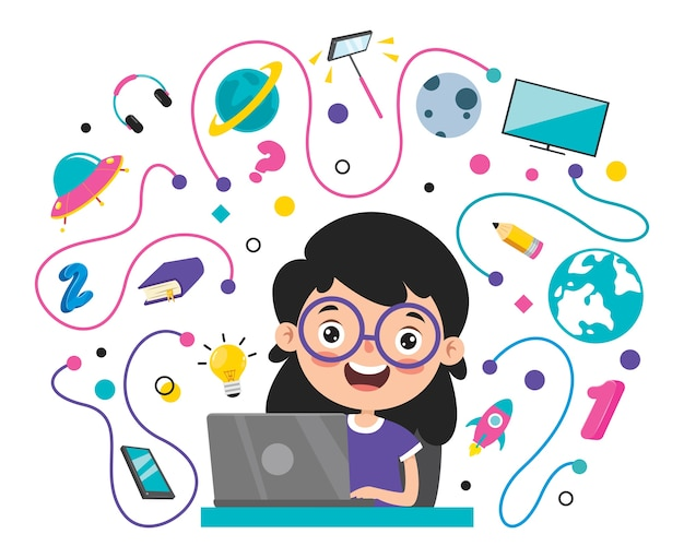 漫画のキャラクターとオンライン学習の概念