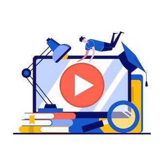 キャラクターとオンライン学習の概念。遠隔教育、オンラインチュートリアルにアプリを使用している人。 Premiumベクター