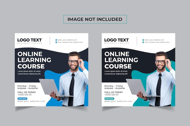 Online learning courses banner social media post template