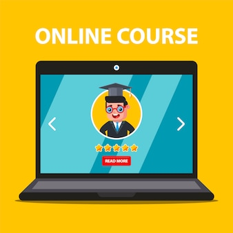 Online learning from your laptop. teacher choice. flat illustration.