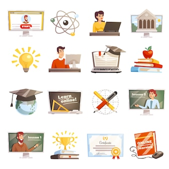 Online learning icons set