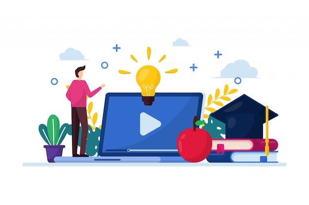 Онлайн обучение иллюстрации с людьми стоит перед ноутбуком с плоской концепцией дизайна