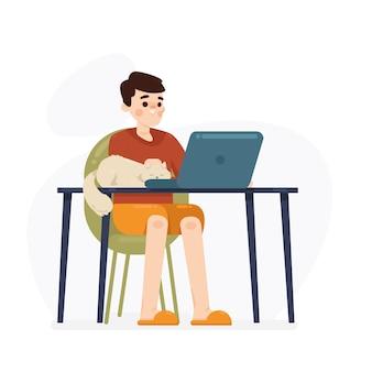 Онлайн-обучение в домашней концепции иллюстрации