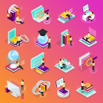 Online learning isometric glow icons set of tutorials for distance education audio books online courses isolated