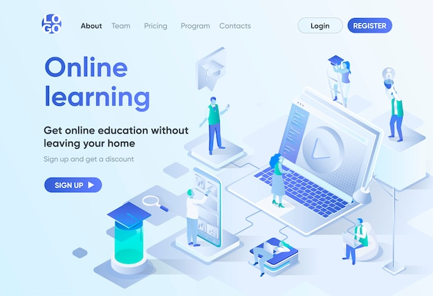 Online learning isometric landing page. distance education, professional skills development and career growth. interactive study template for cms and website. isometry scene with people characters.