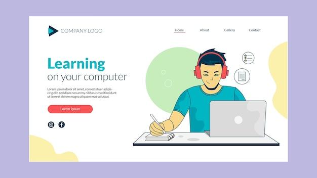 Online learning landing page design