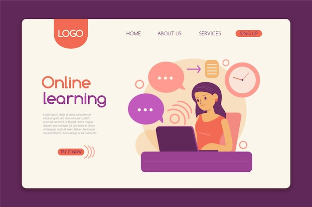 Online learning landing page template