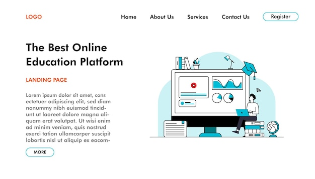 소셜 미디어를 위한 온라인 학습 랜딩 페이지 벡터는 새로운 표준에서 교육을 게시합니다.