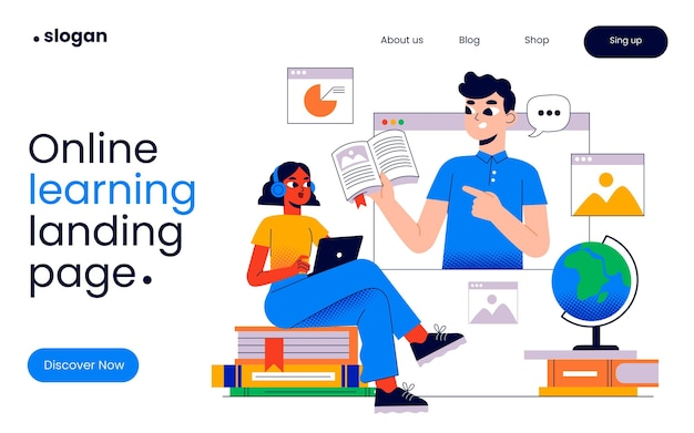 Online learning landing page