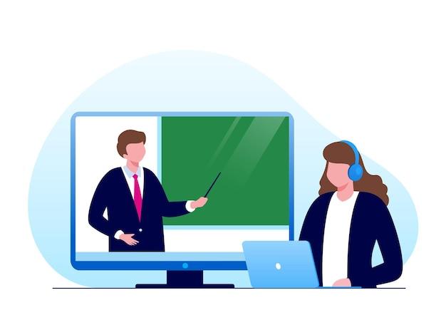 バナーのオンライン学習またはeラーニングフラットベクトルイラスト