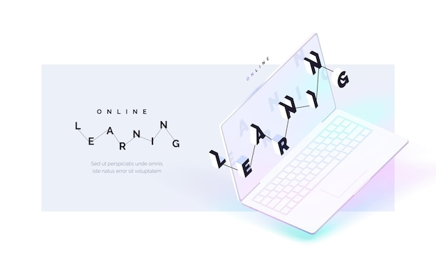 Online learning the process of remote selfeducation realistic laptop with lettering on the screen