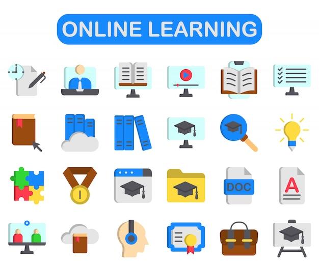 Набор для обучения онлайн, плоский стиль premium