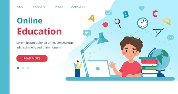 Online learning template with boy studying