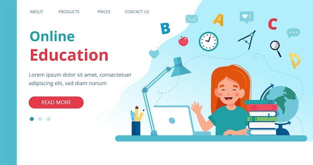 Online learning template with girl studying