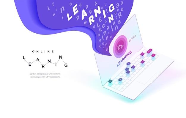 온라인 학습 원격 자기 교육 과정 화면에 글자 구름이 있는 현실적인 노트북 교육 앱 현대적인 벡터 일러스트레이션 아이소메트릭 스타일