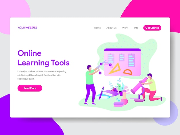 Online learning tools illustration concept for web pages