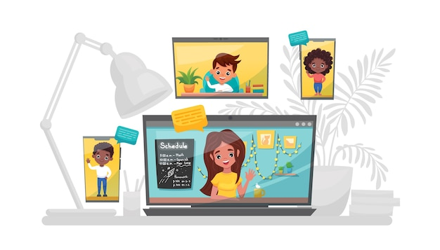 オンライン学習ベクトルストックイラスト。自宅で勉強、オンラインテスト、遠隔教育の概念