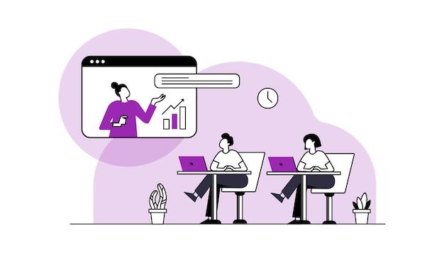 온라인 학습 벡터 컴퓨터에서 온라인 강의를 보고 인터넷에서 공부하는 학생
