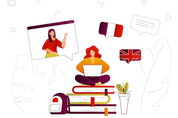 ビデオコースでリモートで言語を勉強しているオンライン学習ウェブコンセプト学生