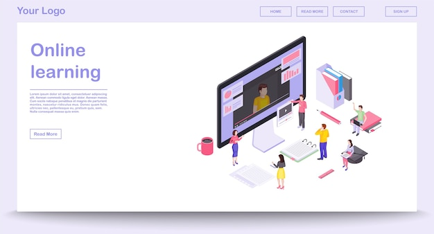 アイソメトリックイラスト付きのオンライン学習ウェブページテンプレート。ウェブサイトのインターフェースデザイン。 eラーニング。オンラインコース、教育。ビデオチュートリアル。インタラクティブトレーニング3dコンセプト。孤立したクリップアート