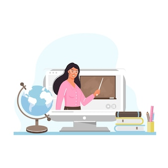 Онлайн обучение. учитель молодой женщины на экране компьютера.