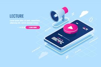 Изометрическая иконка онлайн лекции, просмотр интернет курса на мобильном телефоне, кнопка воспроизведения на экране