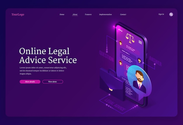 Online legal advice service landing page