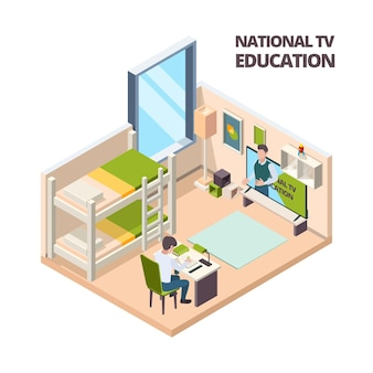 집에서 온라인 수업. 어린이 학생은 집에 있는 탁자에서 공부하고 컴퓨터 벡터 아이소메트릭 내부를 보고 있습니다. 일러스트레이션 e-러닝 교육, 온라인 수업