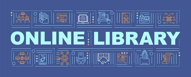 Интернет-библиотека приносит пользу словесному баннеру современный способ получения информации. инфографика с линейной на оранжевом фоне. изолированная типография. наброски цветная иллюстрация rgb