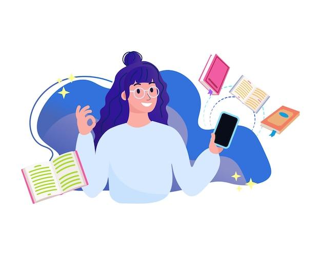 Интернет-библиотека, книжный магазин, чтение книг, концепция образования, приложение для чтения, векторная иллюстрация