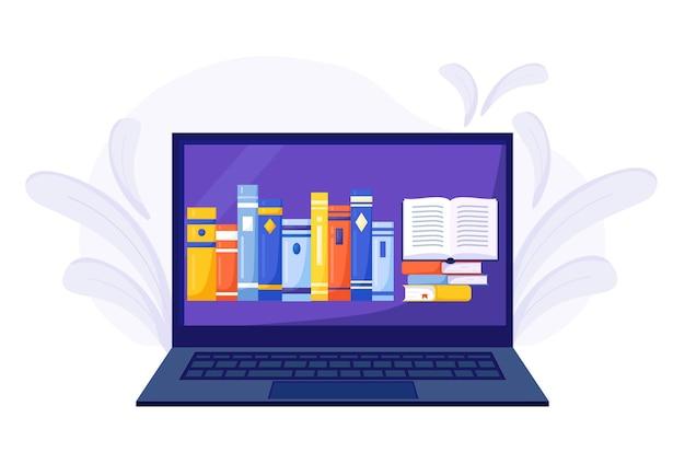 온라인 도서관, 서점, 전자책. 인터넷 교육. 책, 오디오북을 읽고 다운로드할 수 있는 응용 프로그램이 있는 노트북. 가정 교육. 대학 숙제. 집에서 컴퓨터로 공부하기