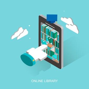 3d 등각 투영 평면 디자인의 온라인 도서관 개념
