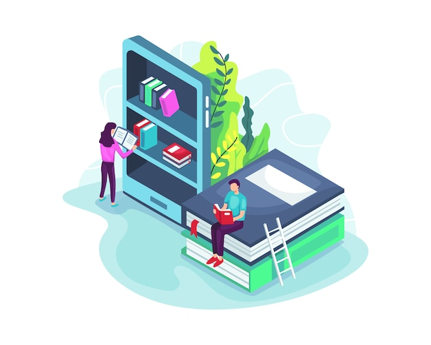 Online library concept in isometric