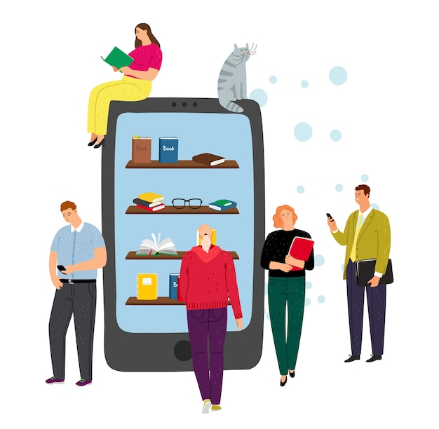 Online library concept. phone, e-reading app and tiny people characters. cartoon boy and girl with books, vector illustration