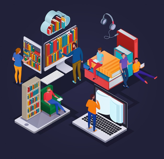 Online library concept with reading people electronic devices and book shelves 3d isometric