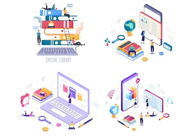 원격 학습, 녹음된 수업, 지식을 얻기 위한 비디오 자습서가 포함된 온라인 도서관 디지털 교육 배경 그림