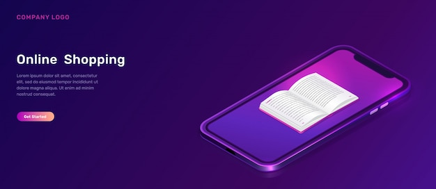 Online library or education isometric banner