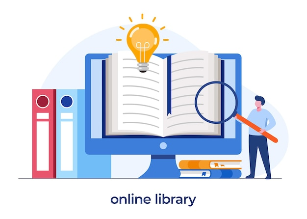 Online library for education, online reference concept, book, literature or elearning, flat illustration vector