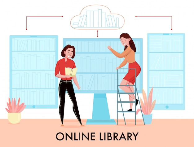 Online library flat composition with women searching book in desktop monitor phone tablet virtual bookshelves vector illustration