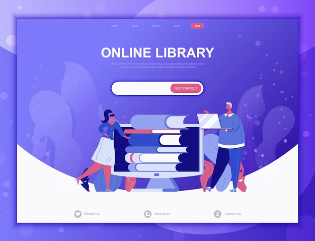 Online library flat concept, landing page web template